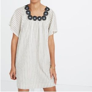 Madewell embroidered butterfly stripe shirt dress